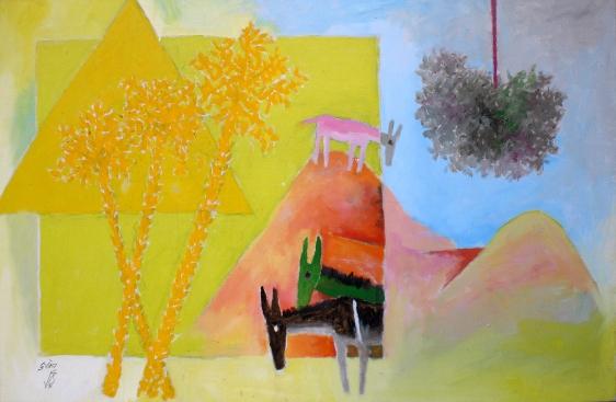 M. F. Husain THREE DONKEYS 1971 Oil on canvas 26.5 x 44 in.