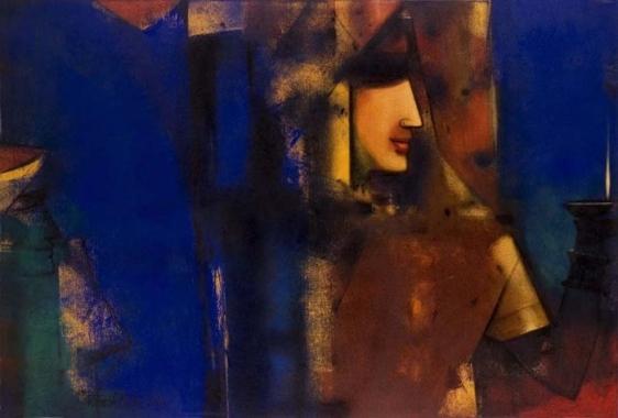 Paresh Maity PUJARINI 2006 Oil on canvas 48 x 72 in.