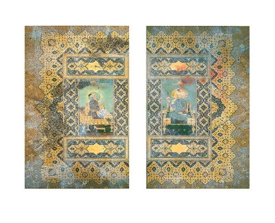 Muhammad Zeeshan DYING MINIATURE I (DIPTYCH) 2008 Gouache and gold-leaf on wasli 19 x 12 in. each  SOLD