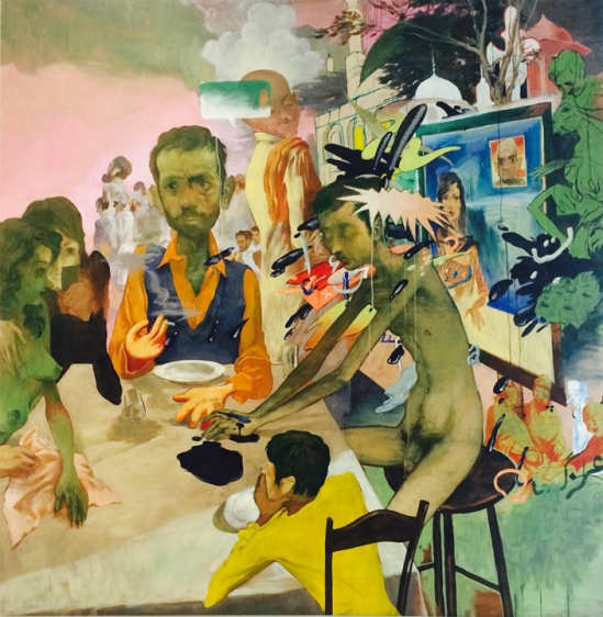 Salman Toor 9PM, The News 2015 Oil on canvas 98.75 x 97 in.