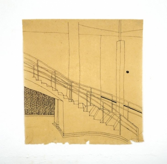 Saad Qureshi Untitled 5 Ink on Chinese paper 16.5 x 17 in NFS