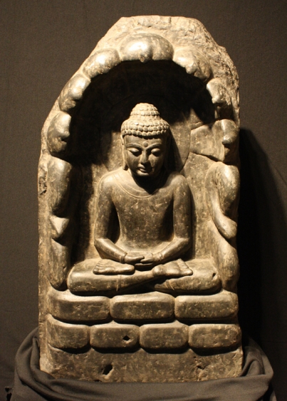 Seated Buddha Pala Empire, Eastern India Black schist 11th Century Height: 25.5 in.