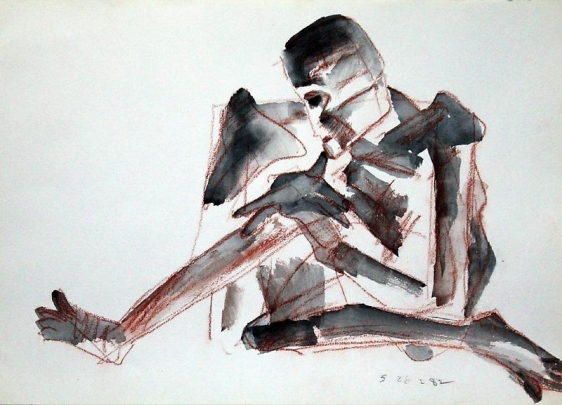 Somnath Hore RUST SERIES 21 1982 Watercolor and crayon on paper 10 1/8 x 14 1/4 in.