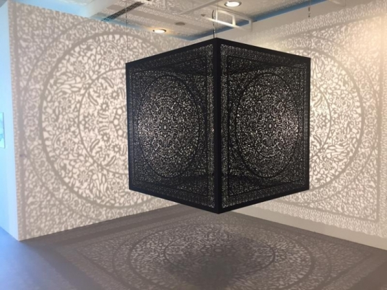 Anila Quayyum ALL THE FLOWERS ARE FOR ME (Ed. of 5) 2015 Stainless steel 60 x 60 x 60 in.