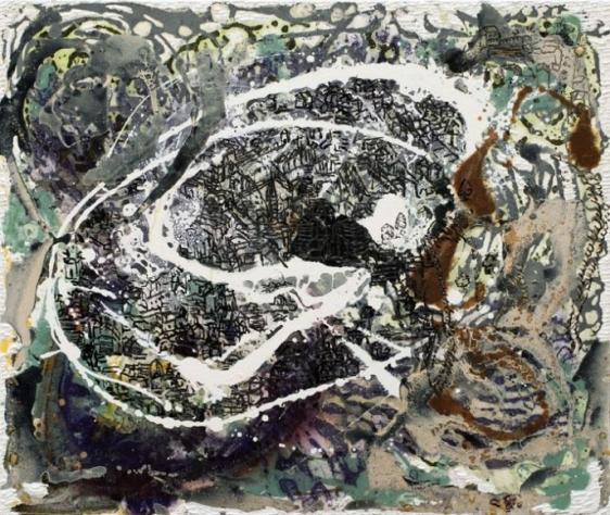 Jayashree Chakravarty UNTITLED (MOUNTAIN VILLAGE) 2010 Acrylic and oil on canvas 30 x 36 in. NFS