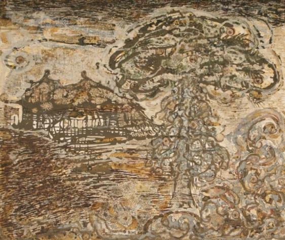 Jayashree Chakravarty UNTITLED BROWN HUTS 2002 Mixed media on canvas 45 x 48 in.  SOLD