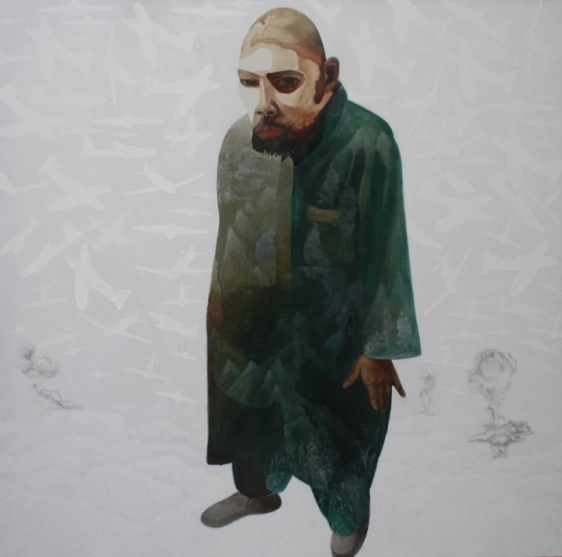Sana Arjumand THEN THEIR SHADOWS FELL FROM THE SKY - 2 2010 Ink, acrylic and tea stains on canvas 60 x 60 in.
