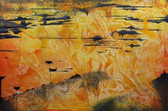 Nitin Mukul Confluence 2016 Oil and acrylic on canvas 40 x 60 in.