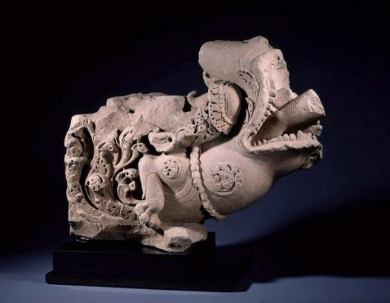 Makara Northern Indian (Madhya Pradesh, probably Gwalior area) 10th/11th Century Sandstone 21.3 x 25.2 x 11.5 in.