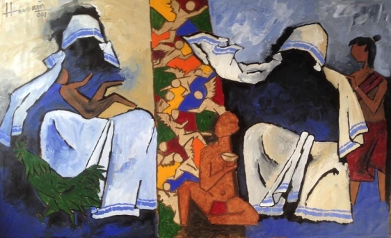 M.F. Husain UNTITLED (MOTHER TERESA) 2001 Acrylic on canvas 50 x 80 in.