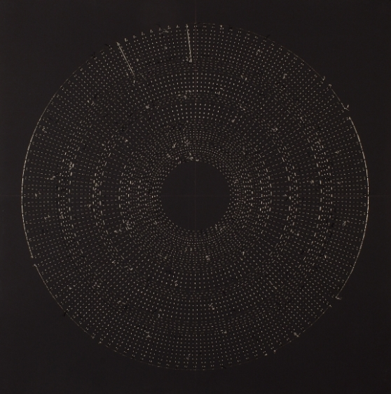 Anila Quayyum Agha Circle The Kaaba (Chartreuse) 2016 Mixed media on paper (Black and chartreuse beads and embroidery on black paper) 29 x 29 in.