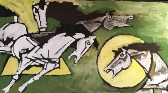 M. F. Husain Three Horses Oil on canvas 30.5 x 55 in.