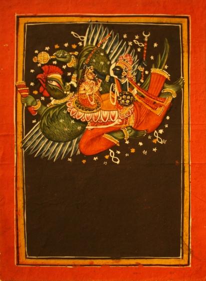 Indian Miniature VISHNU AND LAKSHMI ON GARUDA 19th Century Opaque watercolor on paper 9 x 6 in.