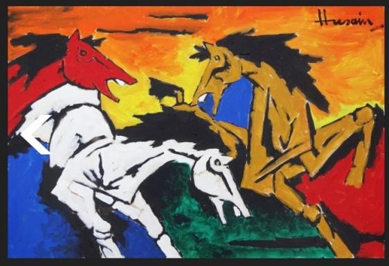M. F. Husain Untitled Acrylic on canvas 24 x 36 in.