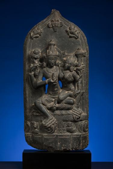 Lakshmi Narayan India Black stone 11th Century Height: 23.5 in.