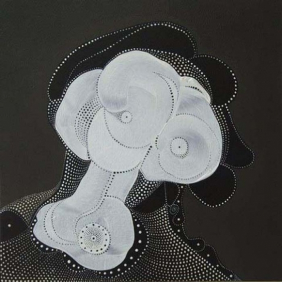 Unver Shafi Khan HAIR-DO NO.2 (IN FABULIST STYLE) 2009 Acrylic on canvas 15 x 15 in.