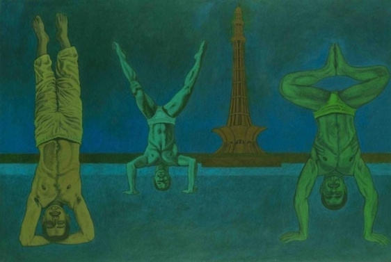 Anwar Saeed The Riddle of Life IsBest Solved Upside Down 2009 Acrylics and charcoal on paper 40 x 59 NFS