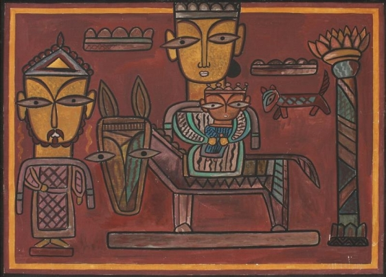 Jamini Roy UNTITLED (THE HOLY FAMILY) ND Gouache 27.5 x 35.25 in.