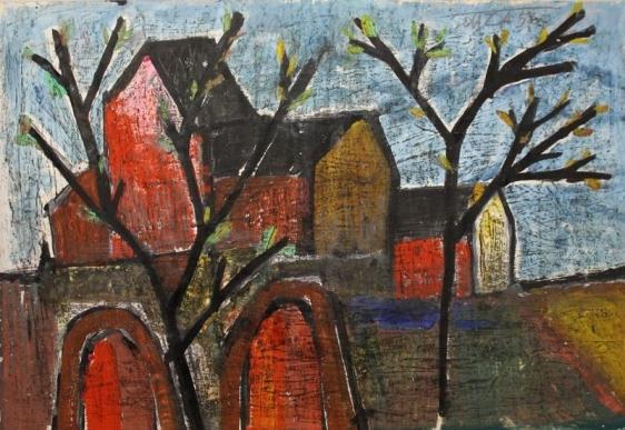 F. N. Souza LANDSCAPE 1956 Oil, wash and graphite on paper 14.5 x 22 in.
