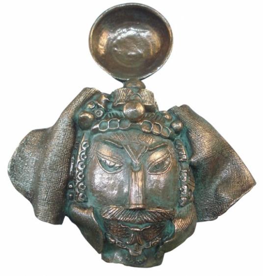 Laxma Goud SCULPTURAL HEAD RELIEF 2 2007 Bronze 17 x 17 x 12 in.
