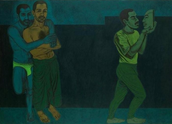 Anwar Saeed Two = One 2010 Acrylic on canvas 60 x 84 in NFS