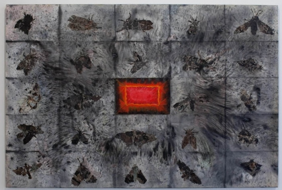 Ali Raza MIRAGE 2008 Burnt paper collage and acrylic on canvas 47.5 x 71.5 in.