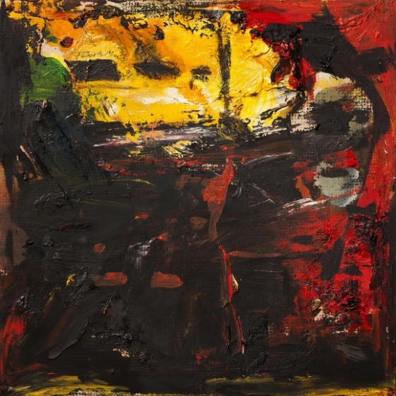 Paresh Maity Untitled (Yellow Skyline) 1991 Oil on board 11 x 11 in.