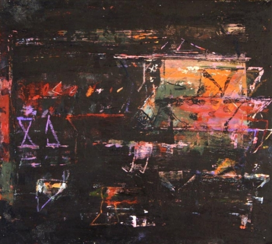 John Tun Sein UNTITLED ABSTRACT 16 2007 Mixed media on paper board 12.5 X 14 in.