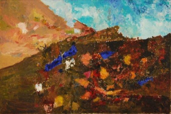 Ram Kumar UNTITLED LANDSCAPE (VILLAGE) 2009 Oil on canvas 24 x 36 in.