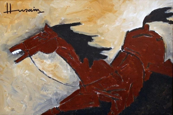 M. F. Husain RED HORSE 2000 Acrylic on canvas 18 x 24 in.