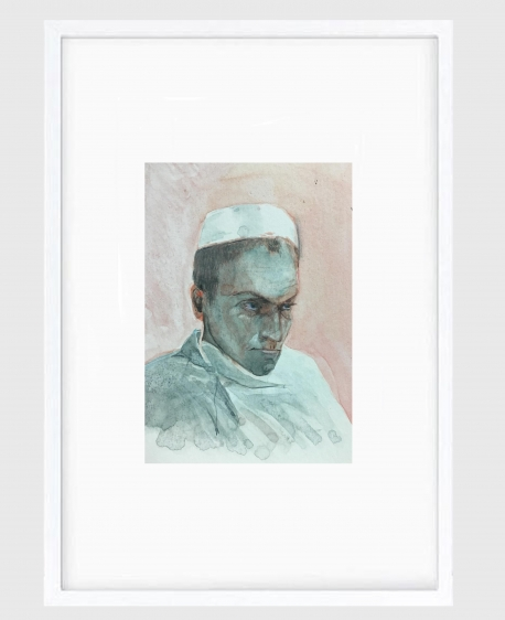Sujith S.N.  Untitled (Portrait) 4, 2020  Watercolor on paper  6 x 6.5 in
