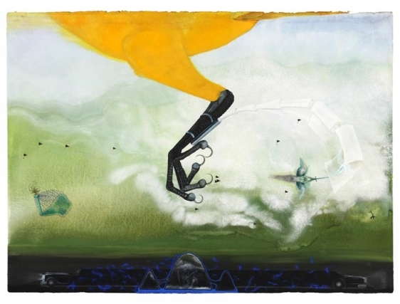 Anandajit Ray INTERCEPT 2009 Watercolor, gouache, aquarelle pencil, dry pastel on paper 30 x 41 in.
