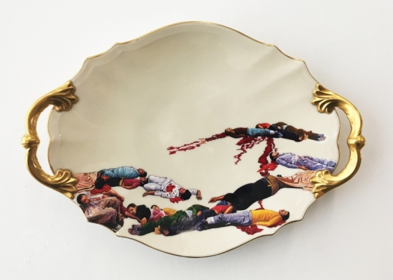 Adeela Suleman Untitled (Serving Dish - 1) 2017 Found Vintage Ceramic Plate with Enamel Paint and Hardener 12 x 17 in.