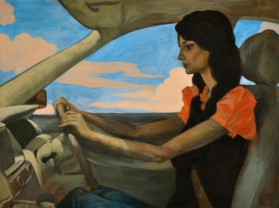 Salman Toor GIRL IN CAR 2013 Oil on canvas 18 x 24 in.
