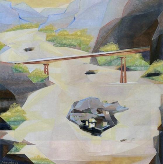 Jehangir Sabavala THE BRIDGE 2004 Oil on canvas 48 x 48 in.