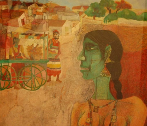 Laxma Goud GREEN HEAD, WOMAN & VILLAGE BACKGROUND 1988 Gouache, on crayon on board 21.75 x 22.25 in.