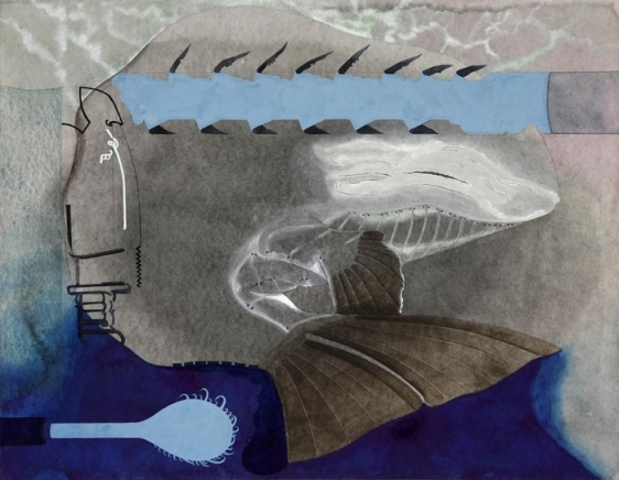 Anandajit Ray TOTEM PROPOSAL (C) 2009 Watercolor, gouache, aquarelle pencil on paper 19.5 x 25.5 in