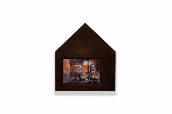 Adeela Suleman   Protecting His Land 3  2019  Wood frame, wood staining, metal plate with enamel paint and lacquer  11.5 x 10 x 1.75 in.