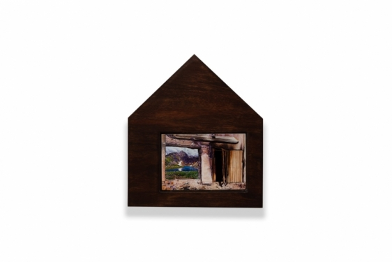 Adeela Suleman   Protecting His Land 1  2019  Wood frame, wood staining, metal plate with enamel paint and lacquer  11.5 x 10 x 1.75 in.