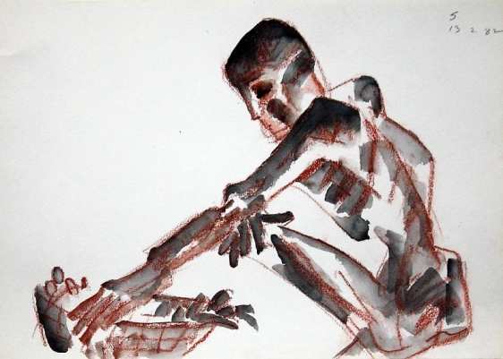 Somnath Hore RUST SERIES 9 1982 Watercolor and crayon on paper 10 1/8 x 14 1/4 in.