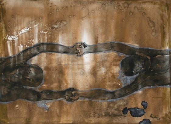G.R. Iranna UNTITLED JOIN HANDS 2007 Mixed media on paper 38 x 51.5 in.