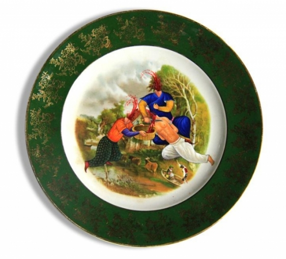 Adeela Suleman AND THEN IT ALL HAPPENED SERIES (PLATE 1) 2014 Found porcelain plate with enamel paint 10 x 10 in.