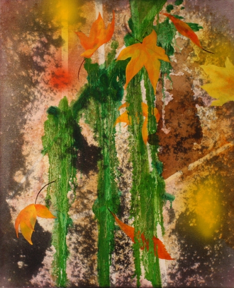 Nitin Mukul REALM OF THE SENSES 2013 Oil, acrylic and tea stain on canvas 24 x 18 in.