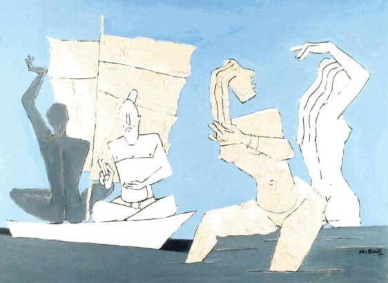 M. F. Husain RITUAL OF A RIVER Acrylic on canvas 27.5 x 38 in.  SOLD