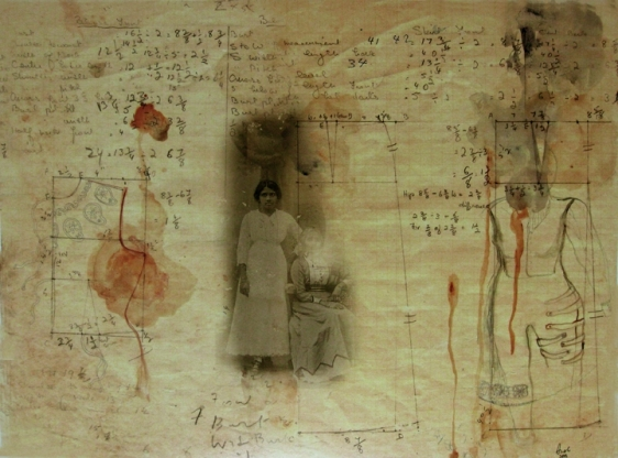 Anoli Perera Sewing Book Series I 2013 Print on Hahnemühle photo rag archival paper, with watercolor, ink and acrylic 15 x 20 in