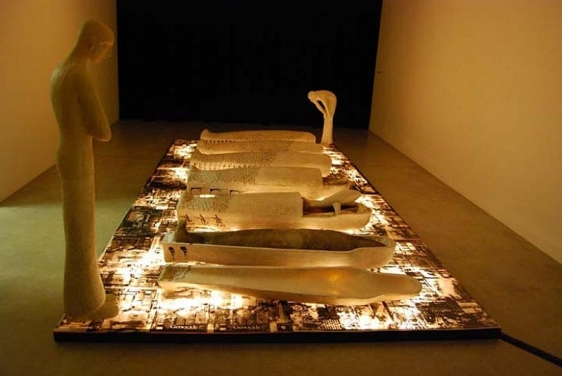 Adip Dutta REQUIEM 2000 Fiberglass, printed acrylic sheets and lights 96 x 192 in.