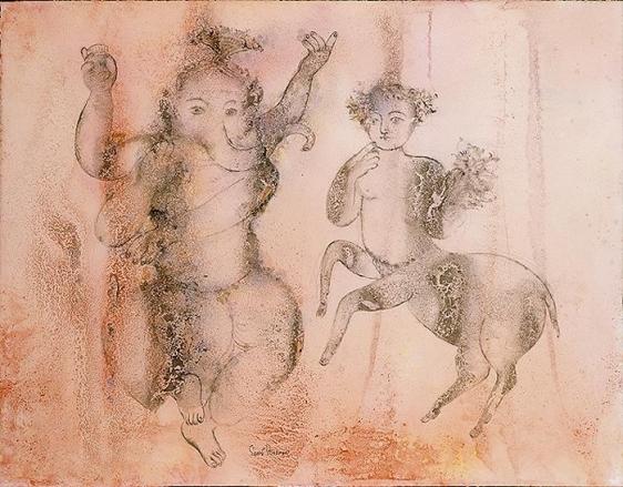 Sakti Burman DANCING GANAPATHY 2008 Watercolor on paper 20 x 25.5 in.
