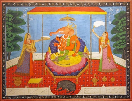 Ganesha India, Kangra or Mandi Opaque watercolor heightened with gold and silver on paper Late 19th Century 11 x 14 in.