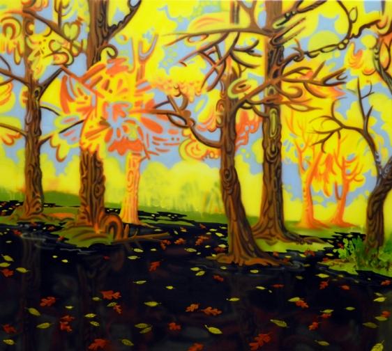 Mala Iqbal BLACK POOL 2012 Acrylic on canvas 34 x 38 in.