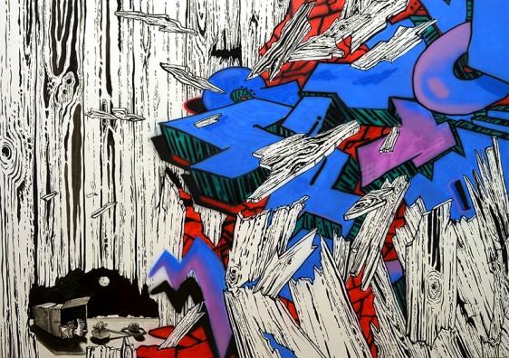 Mala Iqbal MAKE A BREAK 2012 Acrylic on canvas 42 x 60 in.
